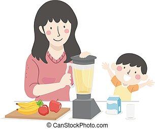 Kid Boy Mom Fruit Smoothie Illustration