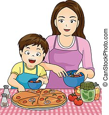 Illustration of a Boy with his Mom while making pizza together