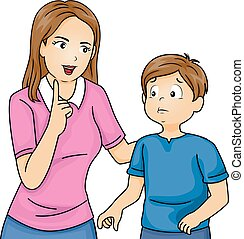 Kid Boy Mom Talk Discipline - Illustration of a Mother...