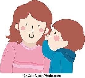 Kid Boy Mom Whisper Illustration