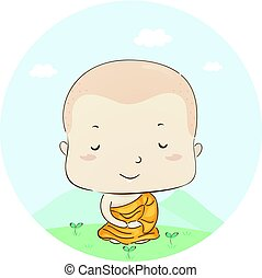 Kid Boy Monk Meditation Lotus Position