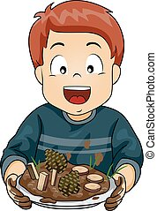 Kid Boy Mud Pie Plate Illustration