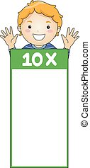 Kid Boy Multiplication Table Flash Card Ten - Illustration...