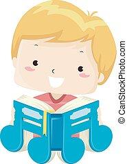 Kid Boy Music Note Book Read Illustration