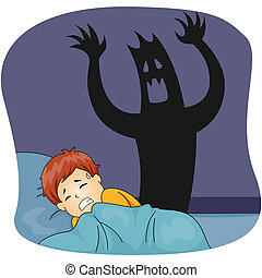 Kid Boy Nightmare - Illustration of a Little Boy Having a...