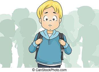 Kid Boy Outcast Student Illustration
