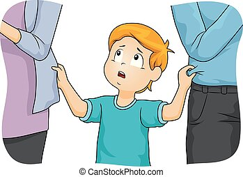 Illustration of a Kid Boy Tugging His Parents Who are Neglecting Him