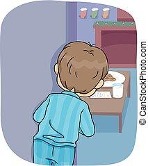 Kid Boy Peek Santa Coming Illustration