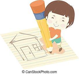 Kid Boy Pencil House Drawing Illustration