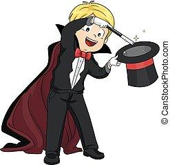 Kid Boy Perform Magic - Illustration of a Boy Performing a...