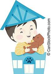 Kid Boy Pet Dog Shop Illustration