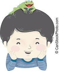 Kid Boy Pet Iguana Illustration - Illustration of a Kid Boy...