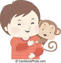 Kid Boy Pet Monkey Illustration