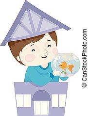 Kid Boy Pet Shop Fish Illustration