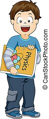 Kid Boy Physics Book Illustration
