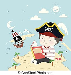 Kid Boy Pirate Book Island Ship Illustration