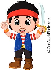 kid boy pirate cartoon
