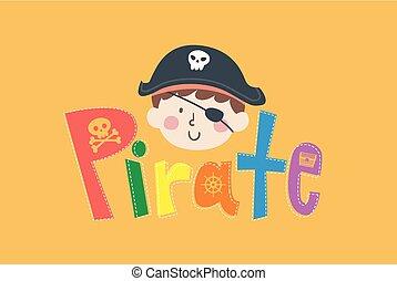 Kid Boy Pirate Head Lettering Illustration