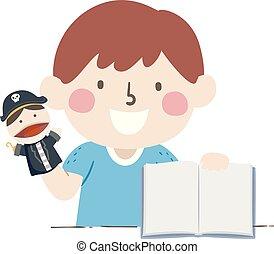 Kid Boy Pirate Puppet Open Story Book Illustration