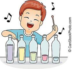 Kid Boy Play Music Bottle - Illustration of a Cute Little...