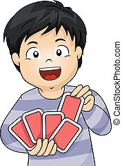 Kid Boy Playing Cards