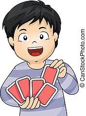 Kid Boy Playing Cards
