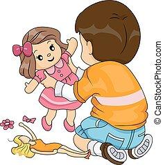 Kid Boy Playing Dolls