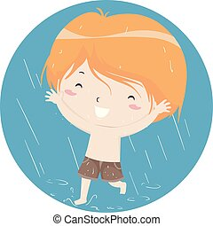 Kid Boy Playing In Rain Illustration