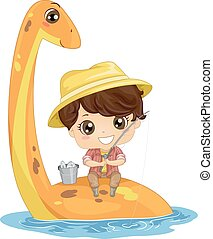 Illustration of a Young Fisherman Sitting on the Back of a Plesiosaur