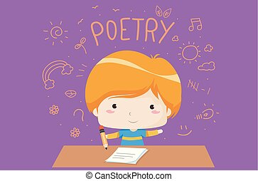 Kid Boy Poetry Creative Writing Illustration