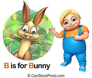 Kid boy pointing Bunny