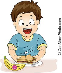 Kid Boy Preparing Healthy Snack - Illustration of a Little...