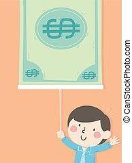 Kid Boy Pull Money Presentation Illustration