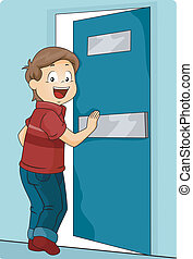 Kid Boy Pushing a Door To Enter - Illustration of a Little...