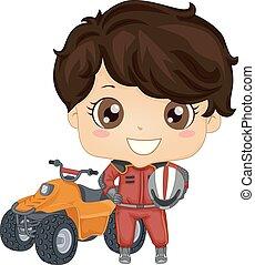 Kid Boy Quad Bike Illustration - Illustration of a Kid Boy...