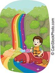 Kid Boy Rainbow Falls Boat