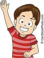 Kid Boy Raising Hand