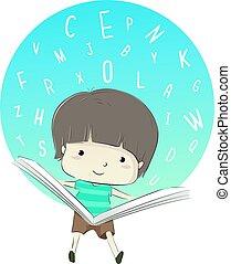 Kid Boy Read Book Alphabet