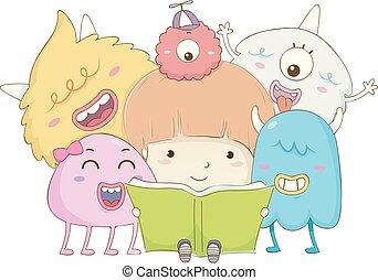 Kid Boy Read Book Monsters Illustration