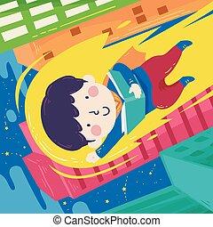 Kid Boy Read Book Super Hero Illustration - Illustration of ...