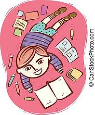 Kid Boy Read Books Illustration