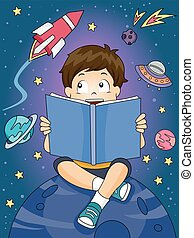 Kid Boy Read Outer Space Book