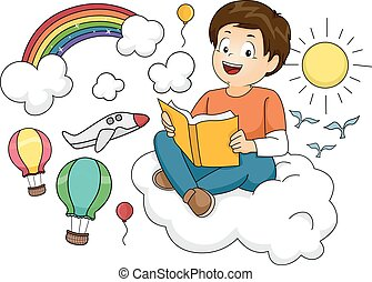 Kid Boy Reading Book Fantasy