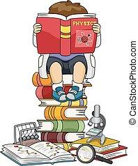 Kid Boy Reading Physics Book Illustration