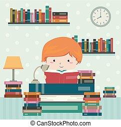 Kid Boy Reading Room Illustration
