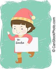 Kid Boy Run Santa Letter Illustration