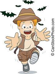 Kid Boy Running Away from Bats - Illustration of Kid Boy...