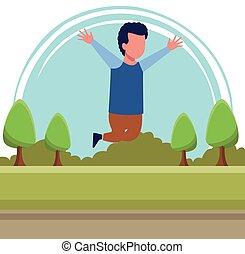 Kid boy running cartoon
