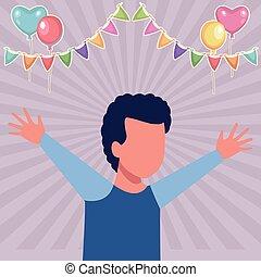 Kid boy running cartoon birthdays party