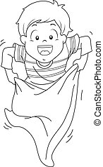 Kid Boy Sack Race Coloring Page